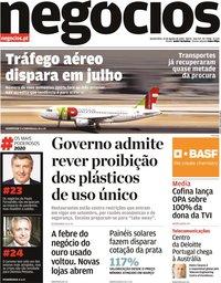 capa Jornal de Negócios de 13 agosto 2020
