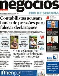capa Jornal de Negócios de 14 agosto 2020