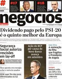 capa Jornal de Negócios de 18 agosto 2020
