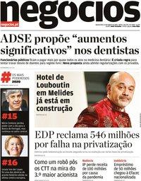 capa Jornal de Negócios de 19 agosto 2020