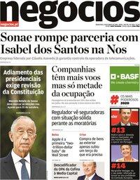 capa Jornal de Negócios de 20 agosto 2020