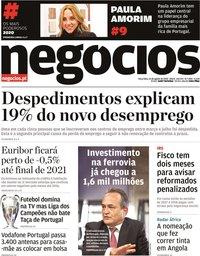 capa Jornal de Negócios de 25 agosto 2020