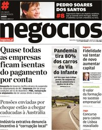 capa Jornal de Negócios de 26 agosto 2020