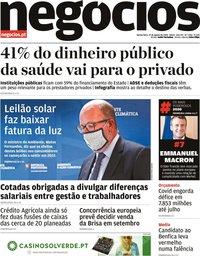 capa Jornal de Negócios de 27 agosto 2020