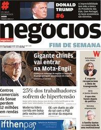 capa Jornal de Negócios de 28 agosto 2020