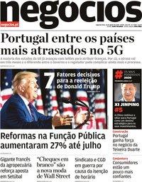 capa Jornal de Negócios de 31 agosto 2020