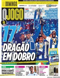 capa Jornal O Jogo de 2 agosto 2020