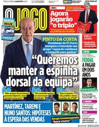 capa Jornal O Jogo de 4 agosto 2020