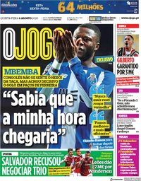 capa Jornal O Jogo de 6 agosto 2020