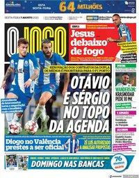 capa Jornal O Jogo de 7 agosto 2020