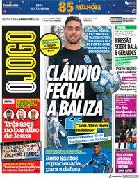 capa Jornal O Jogo de 14 agosto 2020