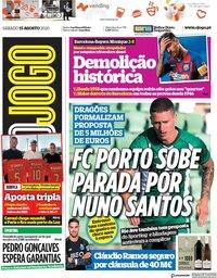 capa Jornal O Jogo de 15 agosto 2020