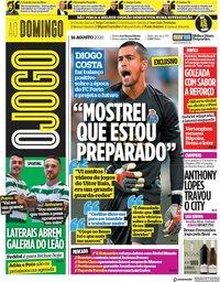 capa Jornal O Jogo de 16 agosto 2020