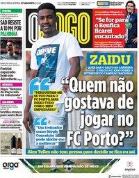 capa Jornal O Jogo de 17 agosto 2020