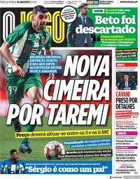 capa Jornal O Jogo de 18 agosto 2020
