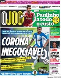 capa Jornal O Jogo de 19 agosto 2020