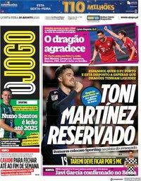 capa Jornal O Jogo de 20 agosto 2020