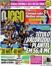 capa Jornal O Jogo de 22 agosto 2020