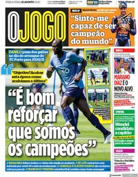 capa Jornal O Jogo de 25 agosto 2020