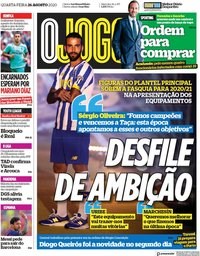 capa Jornal O Jogo de 26 agosto 2020