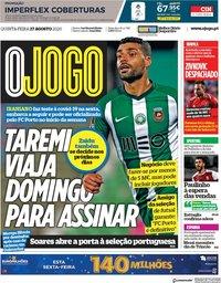 capa Jornal O Jogo de 27 agosto 2020