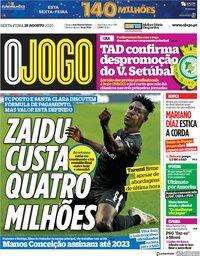 capa Jornal O Jogo de 28 agosto 2020