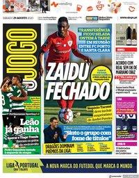 capa Jornal O Jogo de 29 agosto 2020