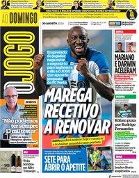 capa Jornal O Jogo de 30 agosto 2020
