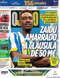 capa Jornal O Jogo de 31 agosto 2020