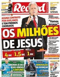 capa Jornal Record de 4 agosto 2020