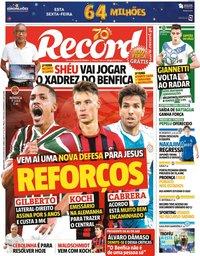 capa Jornal Record de 6 agosto 2020