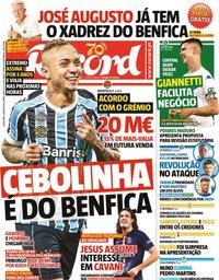 capa Jornal Record de 7 agosto 2020