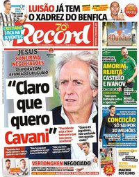 capa Jornal Record de 9 agosto 2020