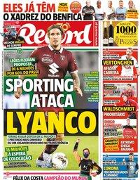 capa Jornal Record de 10 agosto 2020