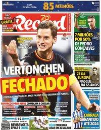 capa Jornal Record de 13 agosto 2020