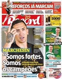 capa Jornal Record de 16 agosto 2020