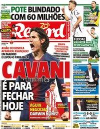 capa Jornal Record de 18 agosto 2020