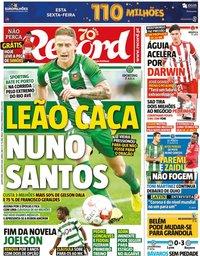 capa Jornal Record de 20 agosto 2020