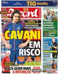 capa Jornal Record de 21 agosto 2020