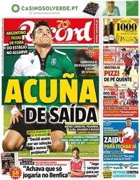 capa Jornal Record de 23 agosto 2020