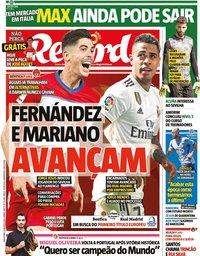 capa Jornal Record de 25 agosto 2020