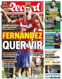 capa Jornal Record de 26 agosto 2020