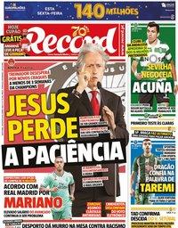 capa Jornal Record de 28 agosto 2020