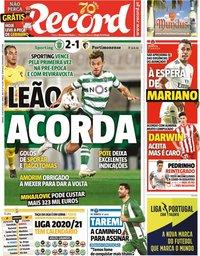 capa Jornal Record de 29 agosto 2020