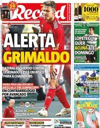 capa Jornal Record de 30 agosto 2020