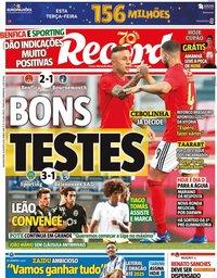 capa Jornal Record de 31 agosto 2020