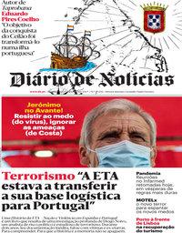 capa Diário de Notícias de 7 setembro 2020