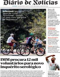 capa Diário de Notícias de 8 setembro 2020