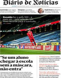capa Diário de Notícias de 9 setembro 2020