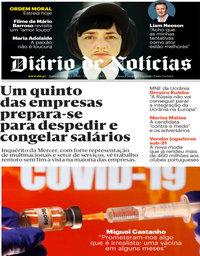 capa Diário de Notícias de 10 setembro 2020